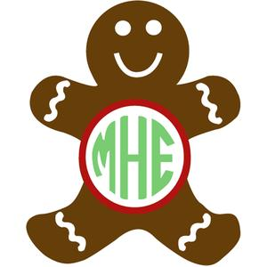 gingerbread man monogram frame