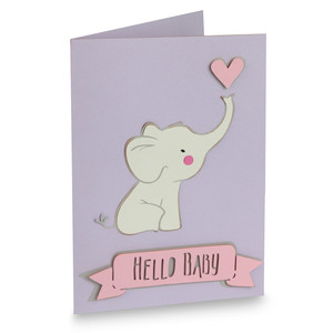 hello baby elephant folded card