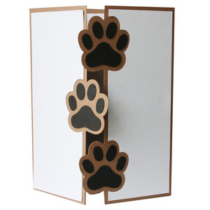 paw print trifold card