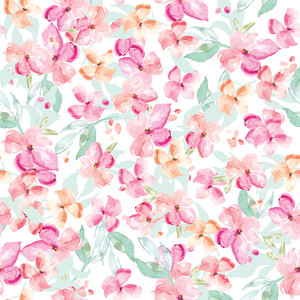 tropical watercolor flower pattern