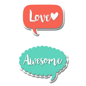 'love- awesome' talk bubbles
