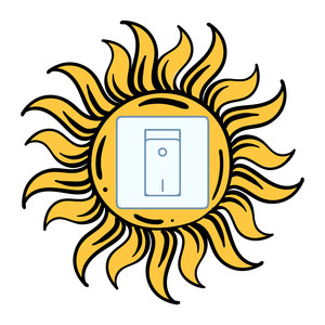 light switch sticker design - sun