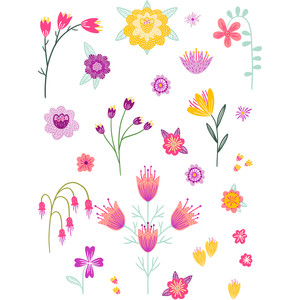 bright colorful flower stickers