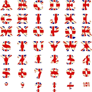 retro union jack alphabet, numbers and characters.