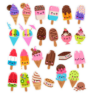 kawaii summer ice cream stickers