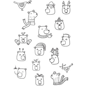 christmas bear coloring stickers