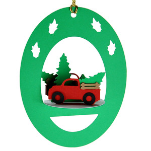 tree truck 3d oval hanging ornament