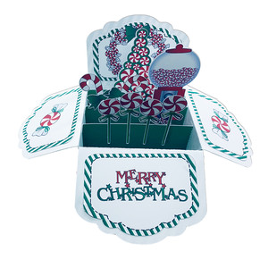 5x7 christmas peppermint pop up card in a box