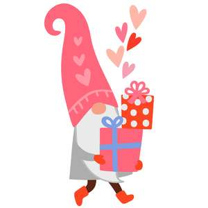 gnome with valentine's day gifts