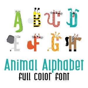 animal alphabet full color font