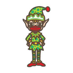 3d layered christmas elf with mask multi layer mandala