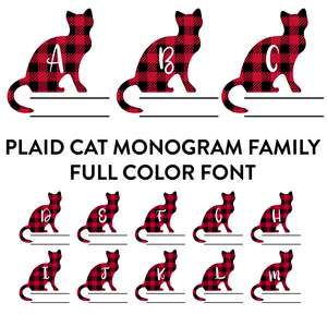 plaid cat monogram family full color font