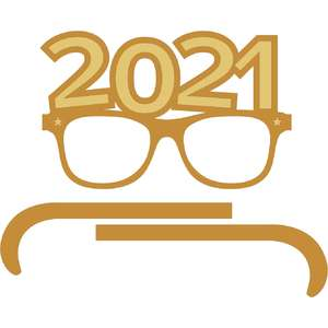 new year 2021 retro glasses