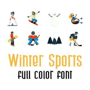 winter sports full color font