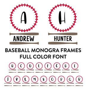 baseball monogram frame full color font