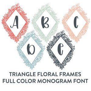 floral triangle frames full color monogram font