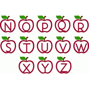 ppbn designs apple monogram alphabet n-z
