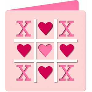 'tic tac toe' cut out card