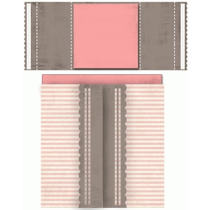 scallop square double folded card