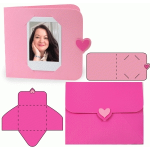 instant photo heart card and envelope