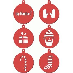 set of christmas tree ornaments