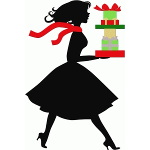 lady shopper with gifts