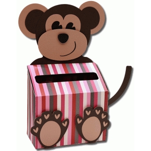 3d monkey valentine box