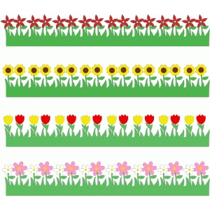 spring flowers borders set