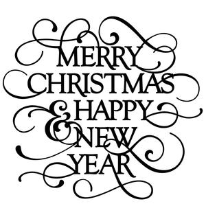 flourish phrase - merry christmas happy new year