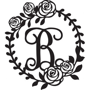floral wreath alphabet b