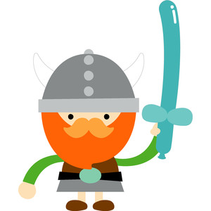 viking with balloon sword - dragon tails