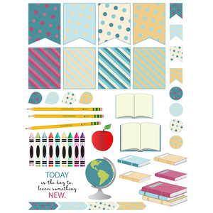 school-themed planner stickers