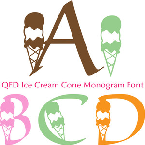 qfd ice cream cone monogram font