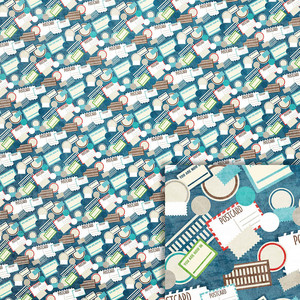 postcards and stamps background paper