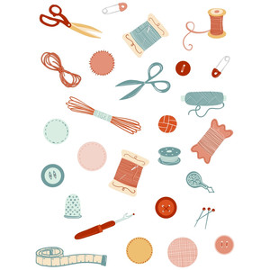 sewing crafting sticker set