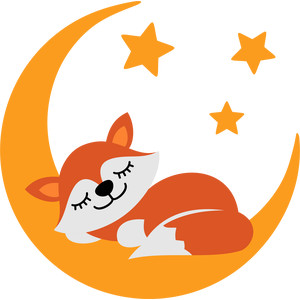 fox sleeping on the moon