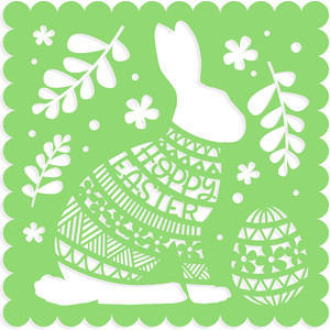 hoppy easter rabbit card front