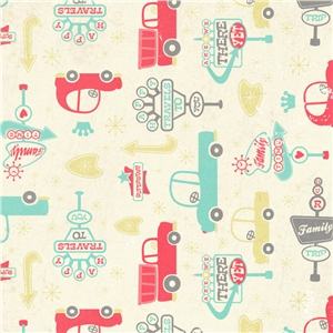 50's pattern retro cars