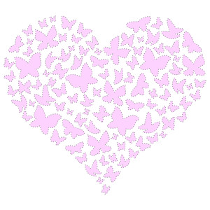 butterfly heart stitching template