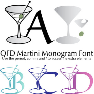 qfd martini monogram summer party font