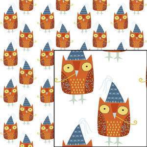 party owl seamless pattern