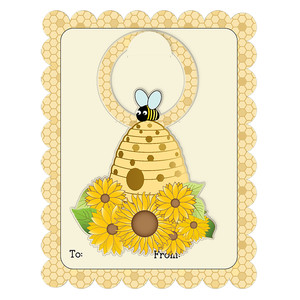bee hive bottle tag on a2 card