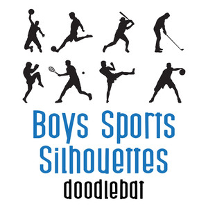 boys sports silhouettes doodlebat