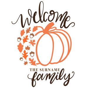 welcome pumpkin wood sign
