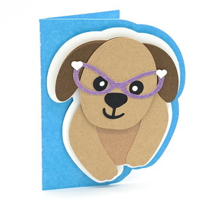 dog with glasses card
