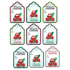buffalo plaid tags w/vintage red truck tags