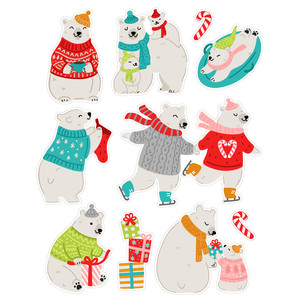 christmas polar bear stickers