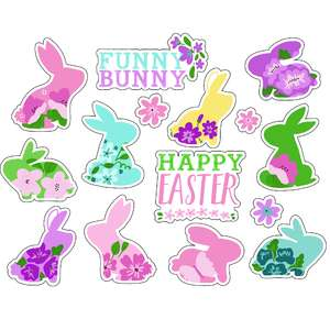 ml hello easter bunny stickers