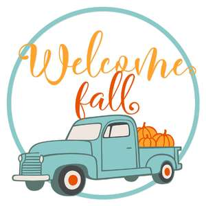 vintage truck welcome fall wreath