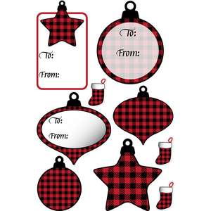 buffalo plaid ornament tag stickers